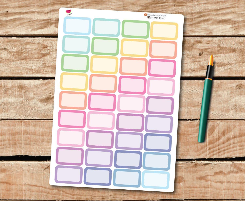 Pastel Half Box Stickers, Planner Stickers, perfect for Erin Condren Planner and other Planners de SandiaStickers en Etsy