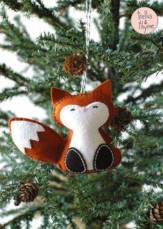 PDF-Muster - Wald Fuchs, Winter Filz Ornament Muster, Weihnachtsschmuck, Softie-Muster #christmasornaments