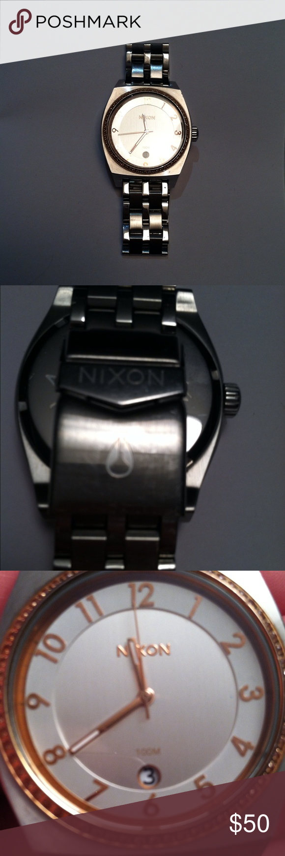 Nixon Molopoly Silver/Rose watch Preloved condition. Retails for $250+. Willing to ship tomorrow! Let me know if you have questions. Nixon Accessories Watches