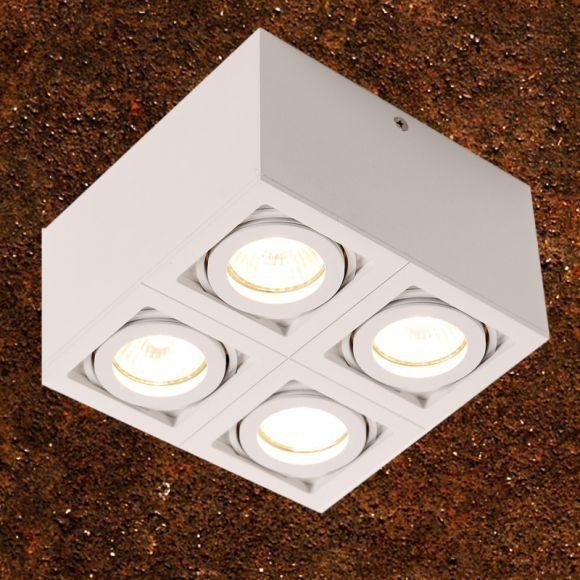 LED-Deckenleuchte Aluminium weiß QPAR51 LED 4x 7W , 2700K 556lm