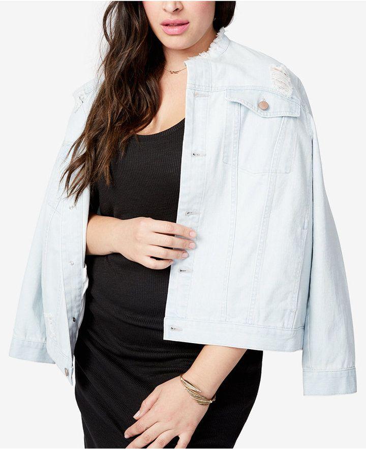 66aafe974cd41 Rachel Rachel Roy Trendy Plus Size Distressed Denim Jacket - Blue 1X ...