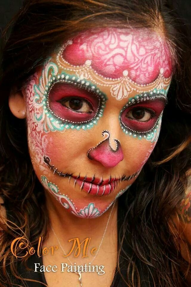 sugar skull facepaint design for halloween maquillage pinterest maquillage halloween. Black Bedroom Furniture Sets. Home Design Ideas
