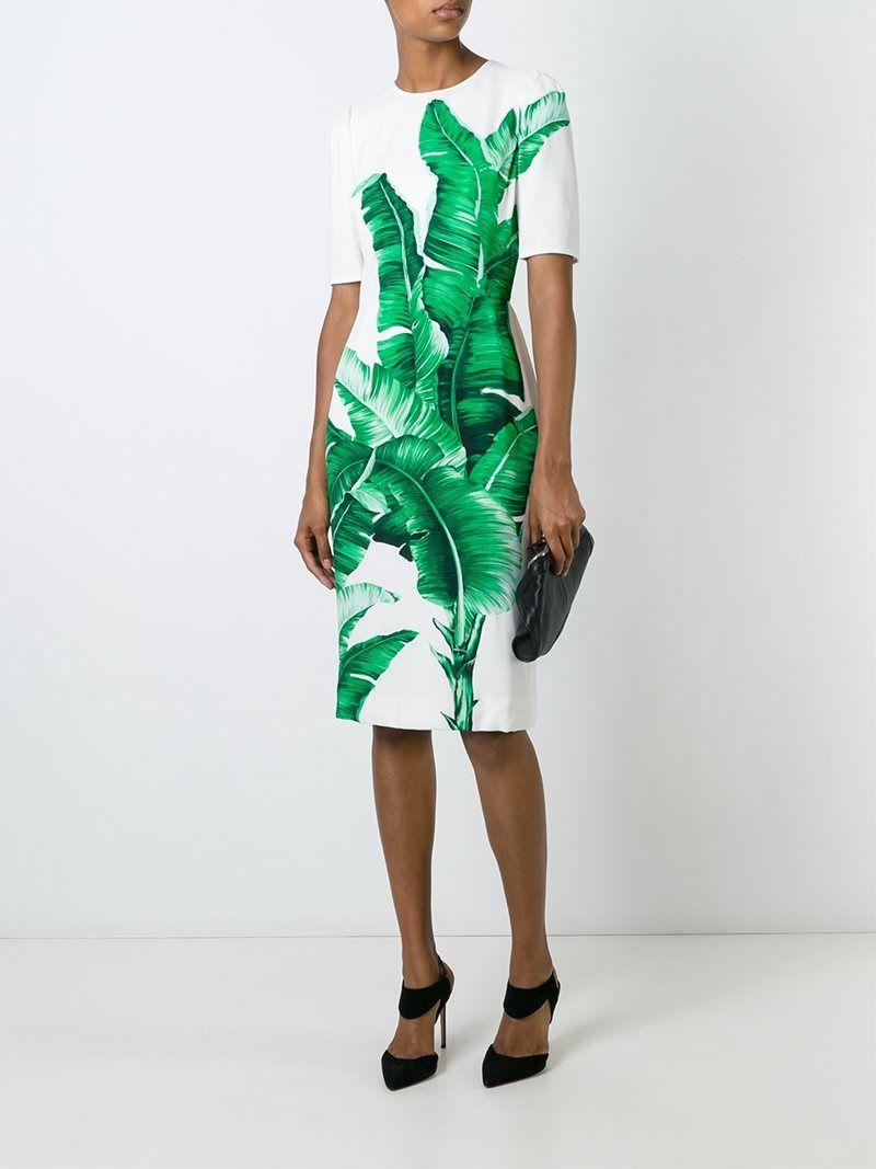 Cómpralo ya!. Dolce   Gabbana Vestido Con Estampado De Hojas De ... 2cf7cd9a50