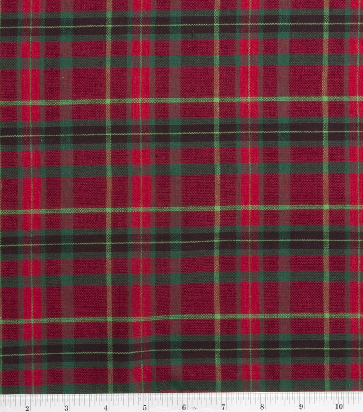 Homespun cotton fabricmedium plaid redgreen plaid red green and
