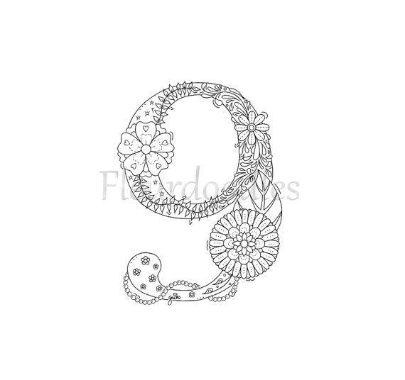 Malseite Ausdrucken 9 Neun Nummern Zahlen von Fleurdoodles   Floral ...