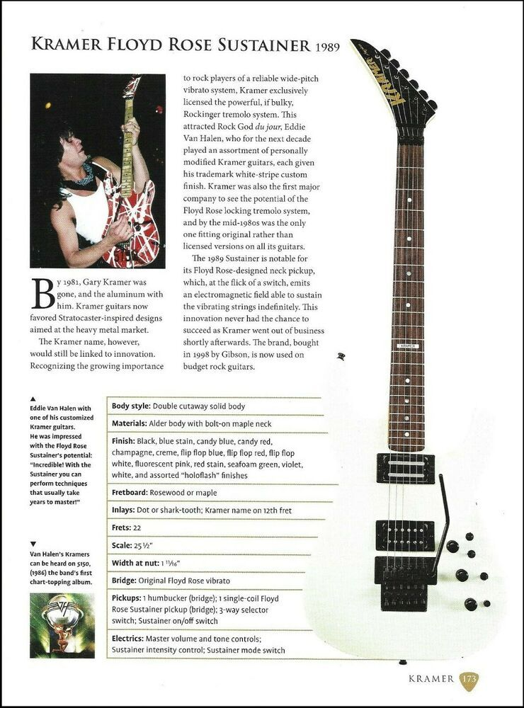 1fcea3940c2 Eddie Van Halen Kramer Floyd Rose Sustainer guitar article with specs   Kramer