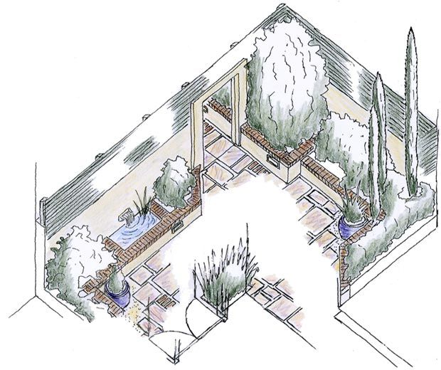 An Isometric View Of The Small Courtyard Garden By Eden
