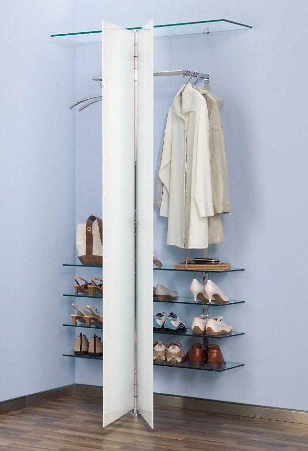 Wandgarderobe Mit 2 Glasturen Und Schuhregalboden Wandgarderobe Garderobenmobel Hausbar Designs
