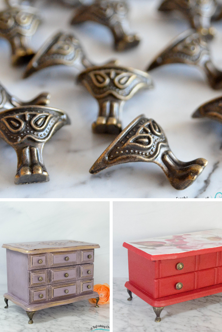 Change The Look Of A Jewelry Box By Adding Feet Jewelry Box Makeover Painted Jewelry Boxes Jewelry Box Diy