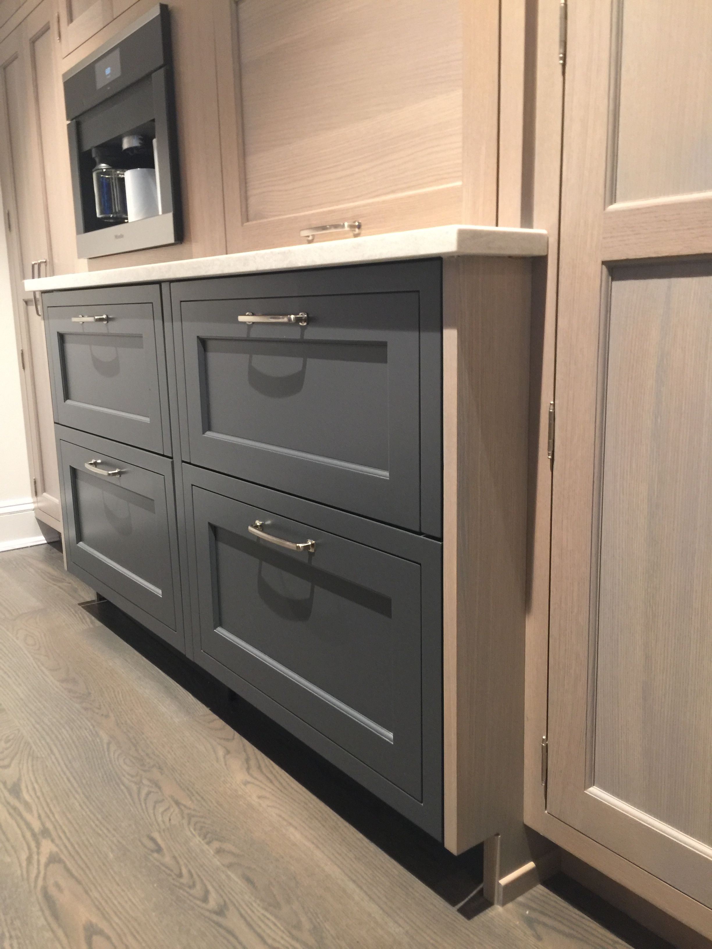 Gray Wash On Qtr Sawn White Oak Against Opaque Blue Gray Caesarstone Bianco Drift Countertop Oak Cabinets Transitional Kitchen Countertops