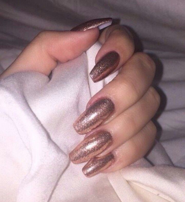Rose Gold Glitter Square Tip Acrylic Nails