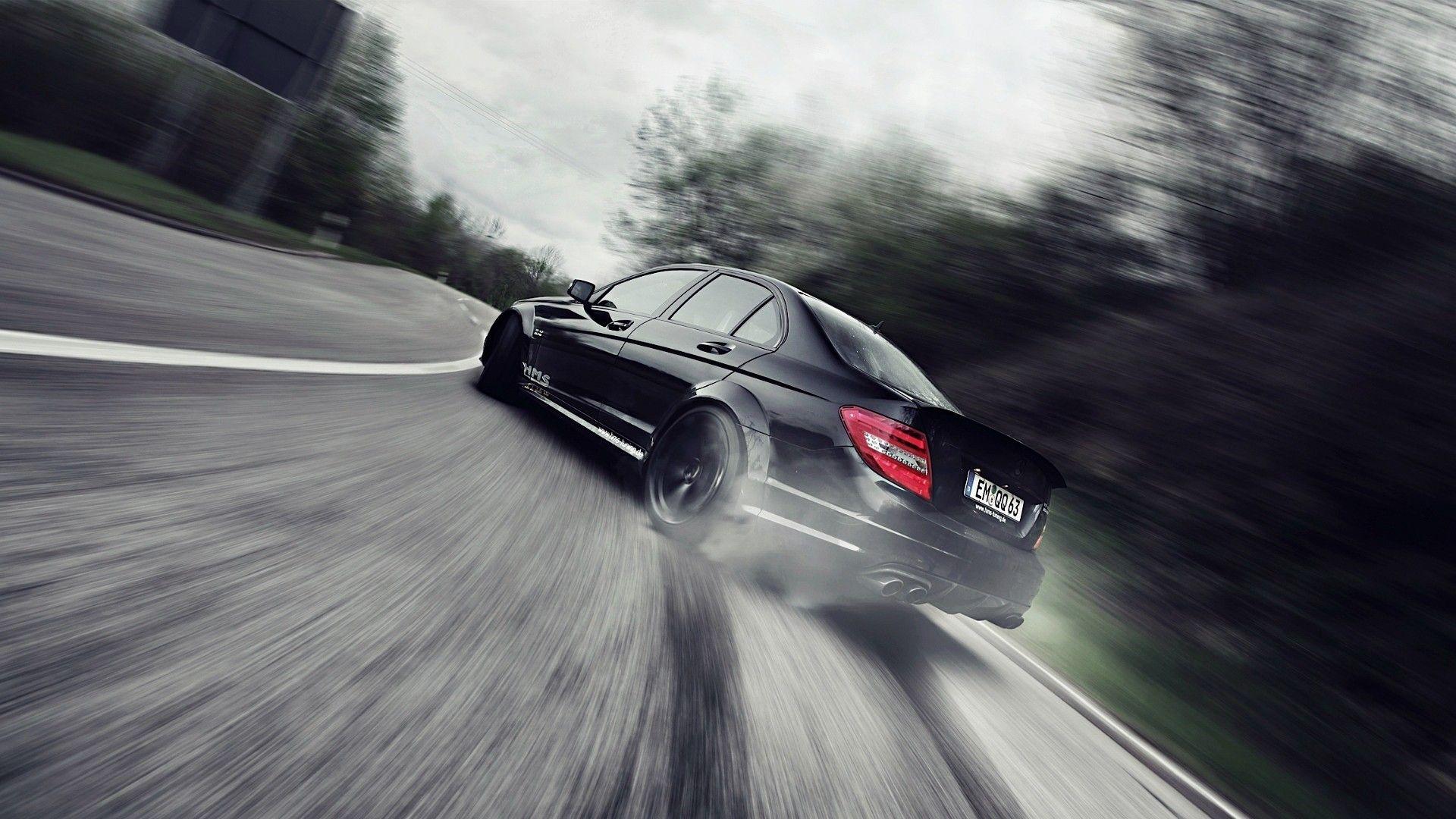black series drift mercedes benz c63 amg 1920x1080 wallpaper - Mercedes Benz C63 Amg Black Series Wallpaper