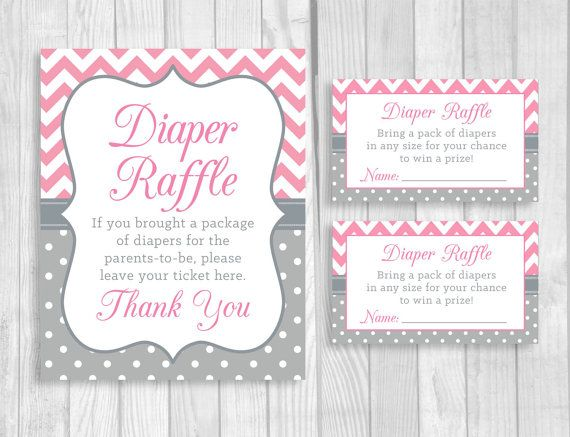 Printable 5x7 Or 8x10 Baby Shower Diaper Raffle Sign And Sheet Of 3x5 Raffle  Tickets   Pink Chevron And Gray U0026 White Polka Dots