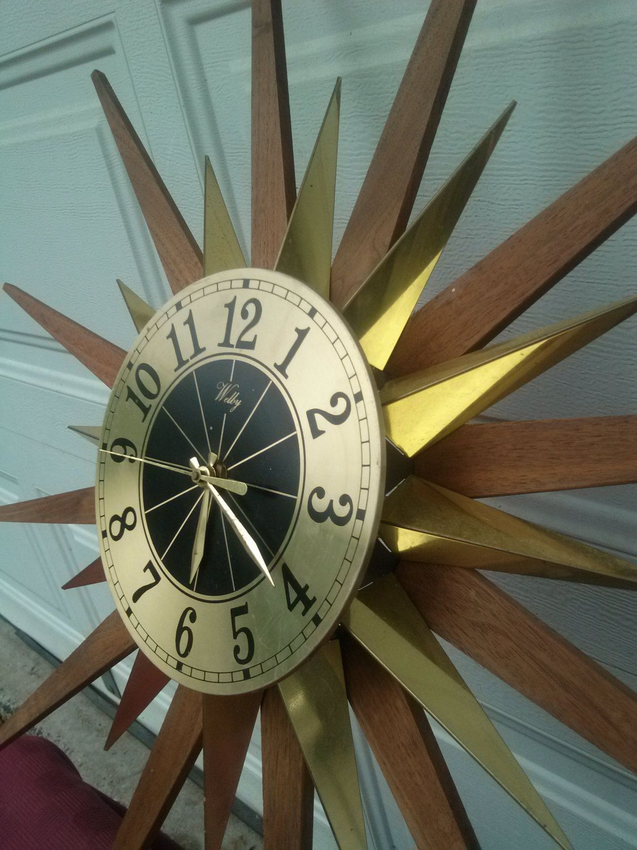Vintage mid century atomic eames era welby starburst wall clock vintage mid century atomic eames era welby starburst wall clockmid century teak amipublicfo Gallery