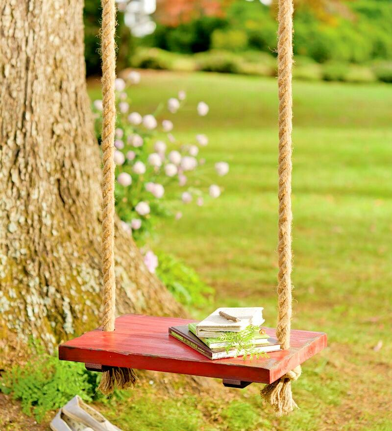 Rope Tree Swing With Wooden Seat Plow