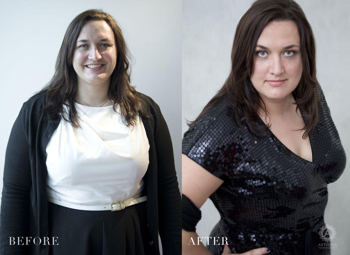 Good posture, flattering camera angle, and great makeup