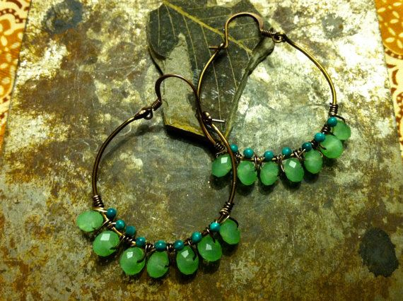 Turquoise Antique Brass Chandelier Earrings by ciaraeverett, $20.00