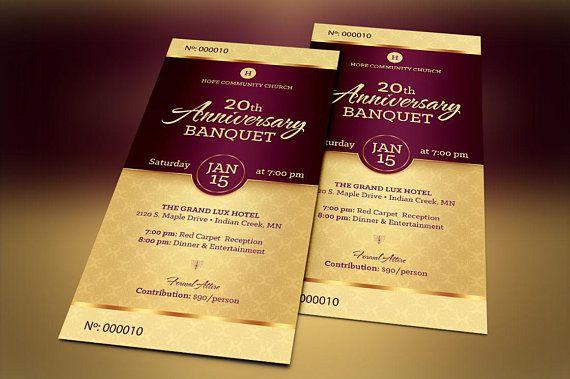 Golden Church Anniversary Banquet Ticket Publisher Template ...