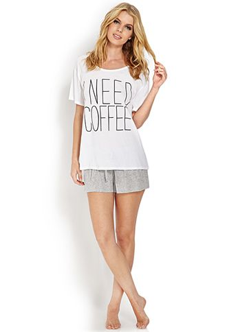 I Need Coffee PJ Set | FOREVER 21 - 2000105758