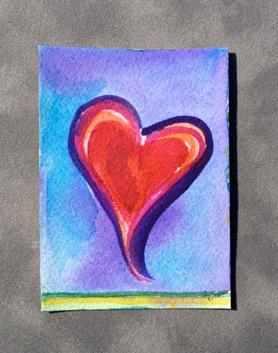 Original watercolor ACEO of a Heart by abuzzcard on Etsy, $10.00
