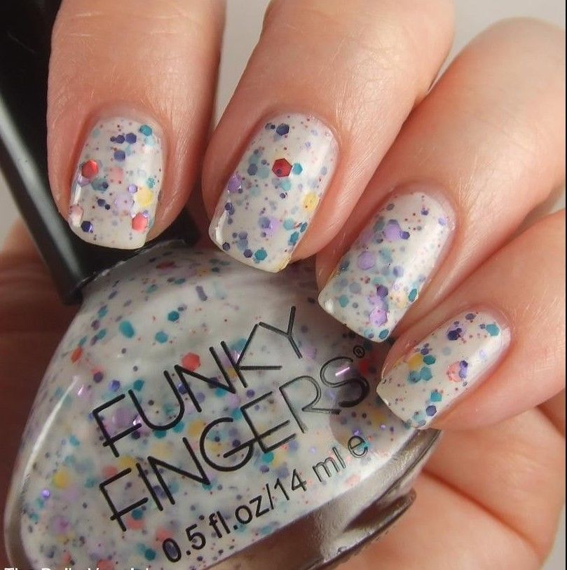 Funky Fingers Nail Polish JAWBREAKER Milky White with Multicolor ...