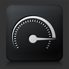 Black Square Button withTop Speed Icon vector art illustration