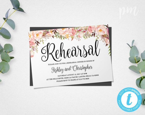 Rehearsal Dinner Invitation Template, Instant Download, Floral - dinner invitation template