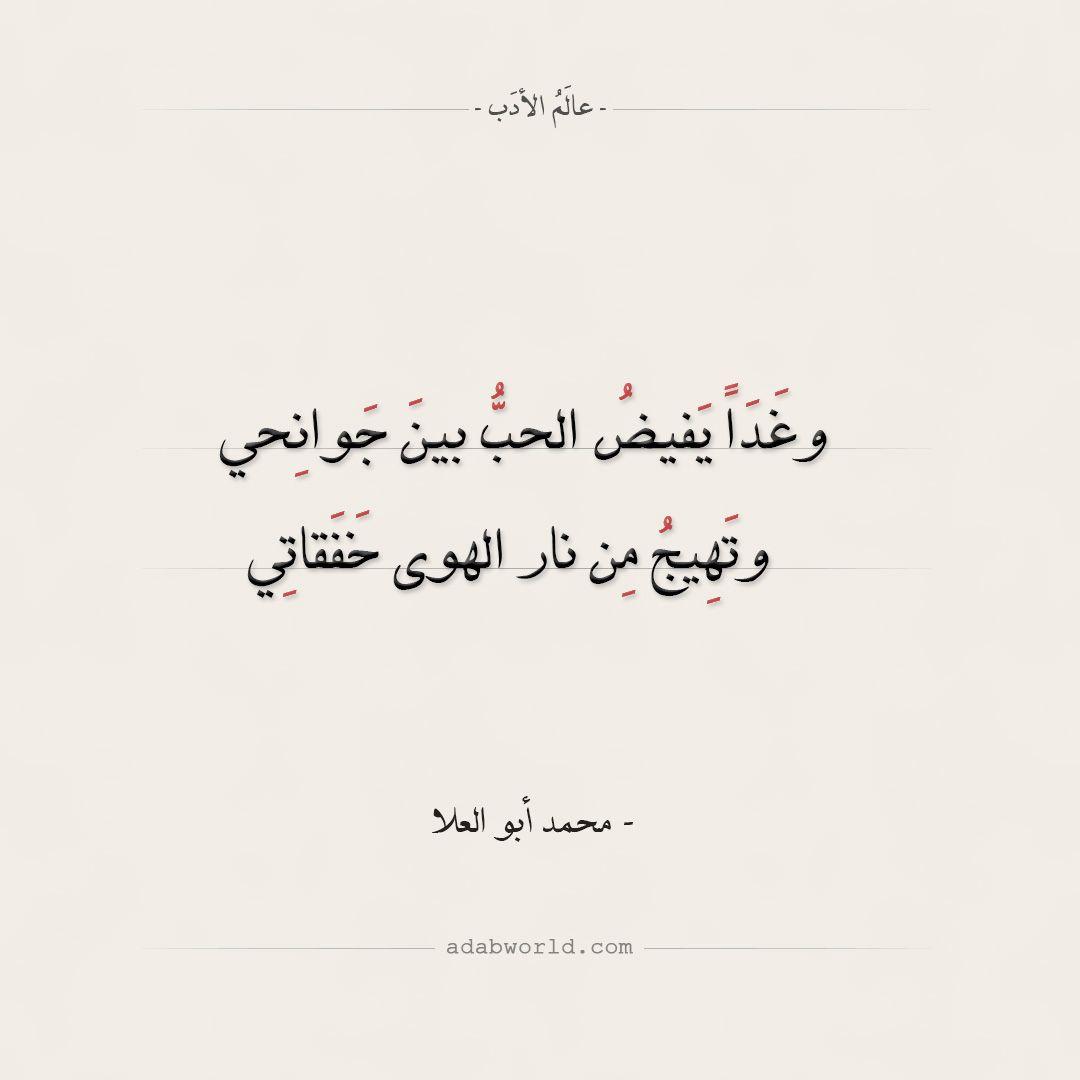 شعر محمد أبو العلا وغذا يفيض الحب بين جوانحي عالم الأدب Funny Arabic Quotes Quotations Arabic Poetry