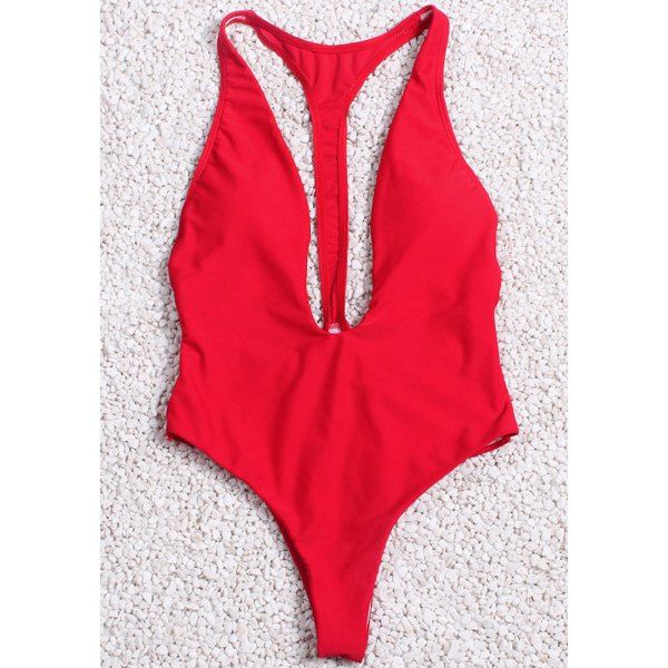 fb0632f7cb98a Sexy Plunging Neck Racerback One-Piece Red Swimwear For Women