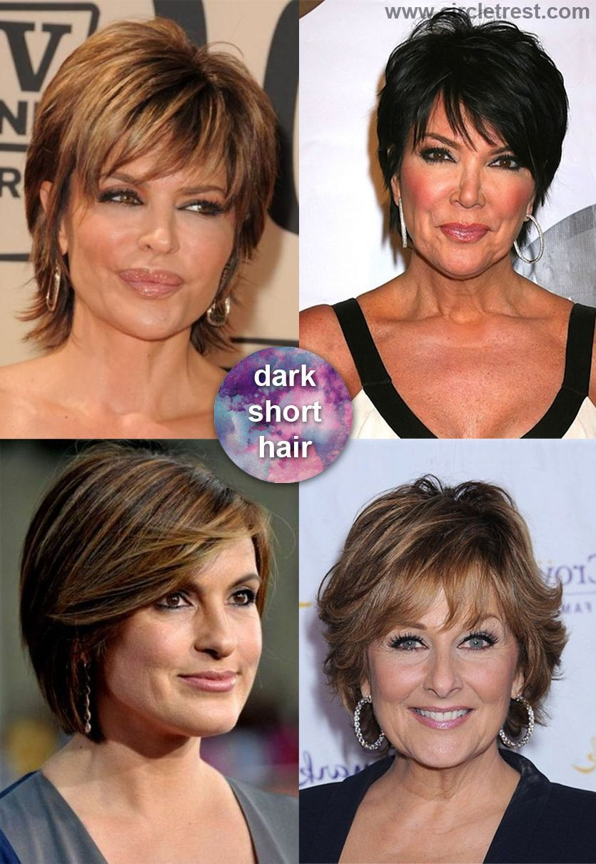 Dark hair and short hairstyles for modern mature woman over