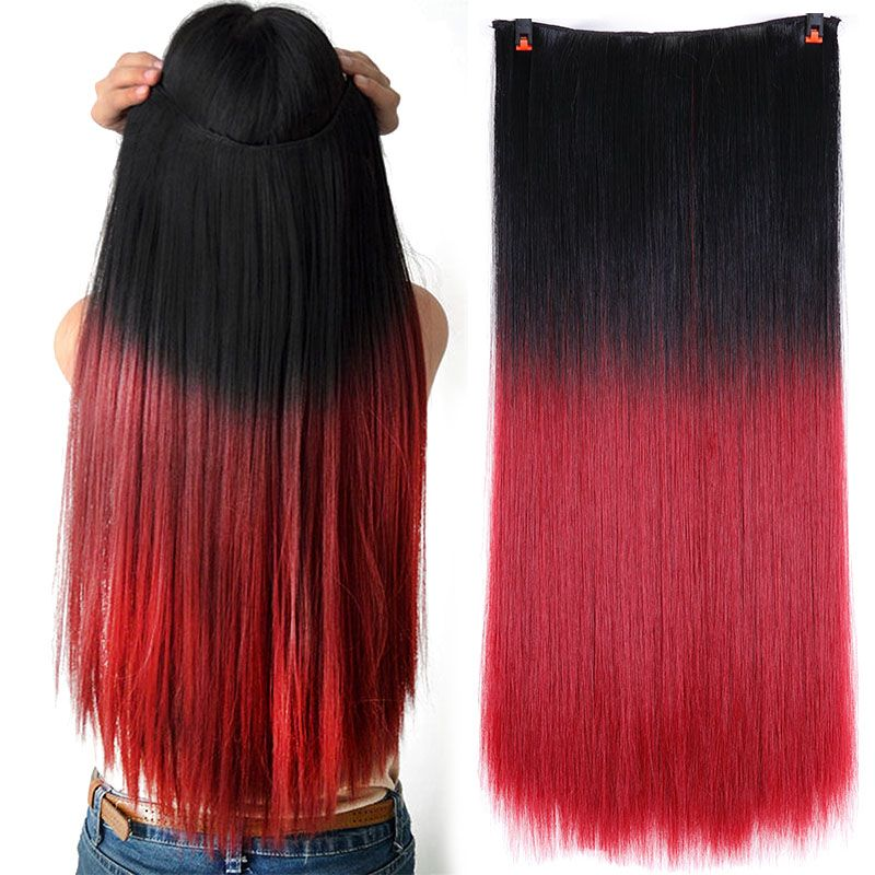 Helpful Leeons 22 Natural Hair Extensions Blonde Fish Line Set Long Straight Hairpiece Synthetic Hair False Red Purple Ombre Color Synthetic Extensions