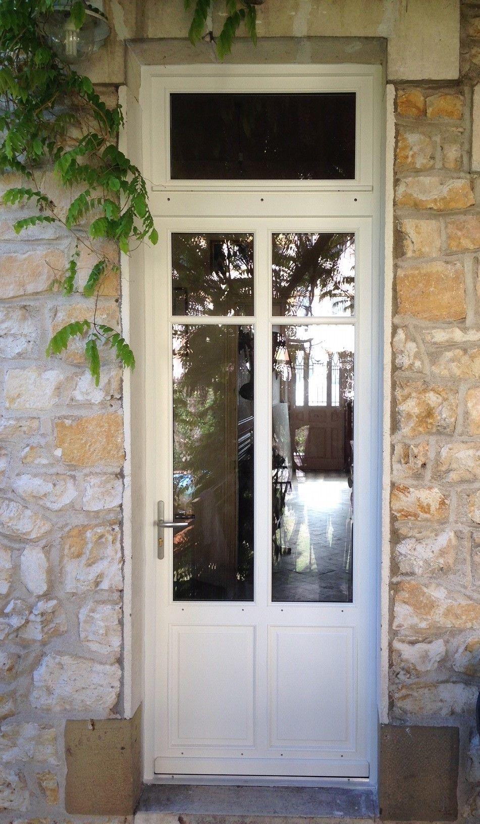 Porte Fenêtre 1 Vantail Avec Petits Bois Collés Imposte Vitrée