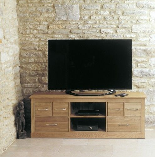 Baumhaus Mobel Oak Widescreen Television Cabinet   COR09B