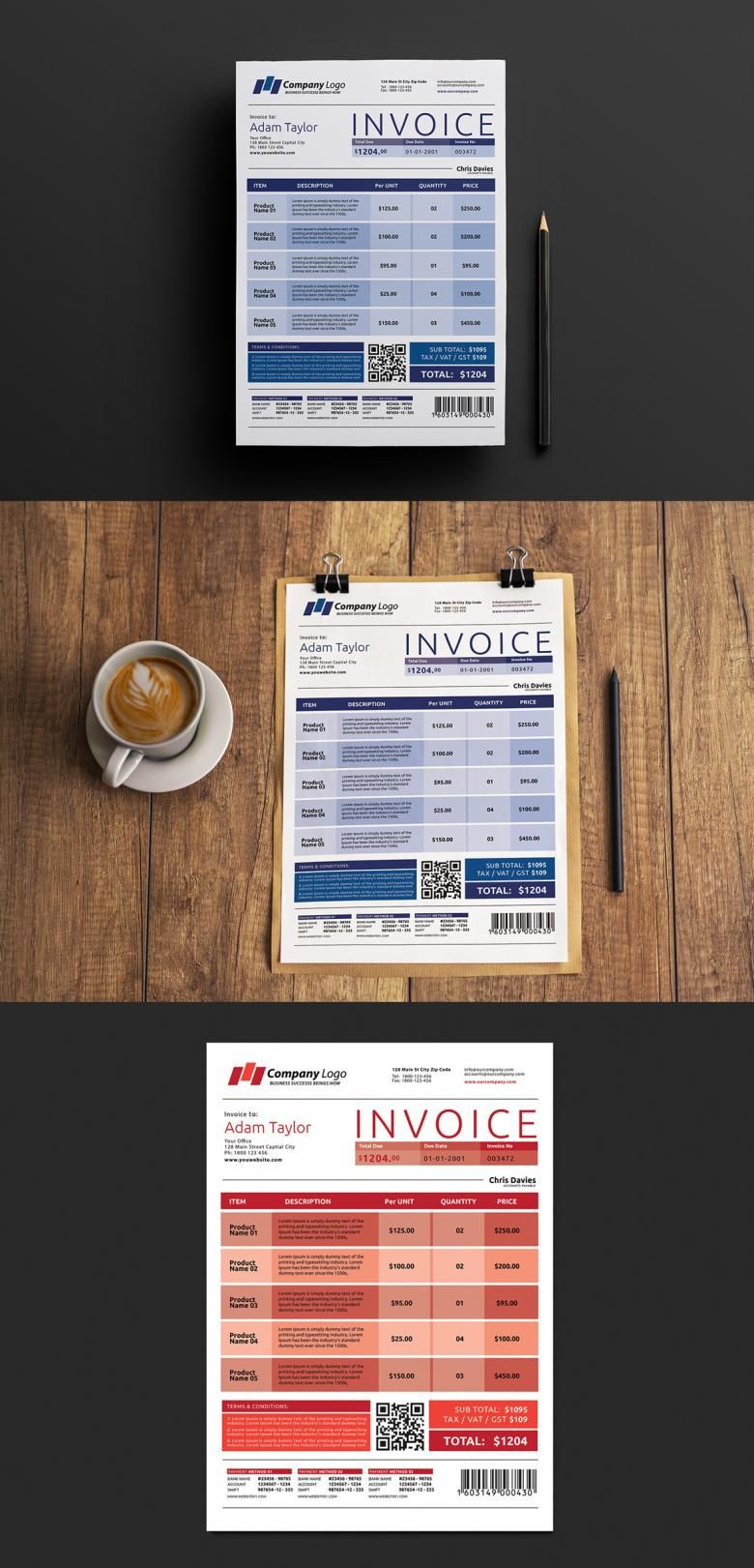 Free Invoice Template for Photoshop and Illustrator | Free Print ...