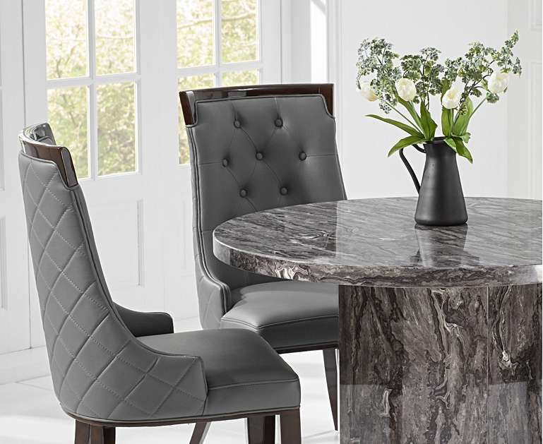 Crema Grey Round Marble Dining Table With Angelica Chairs Round