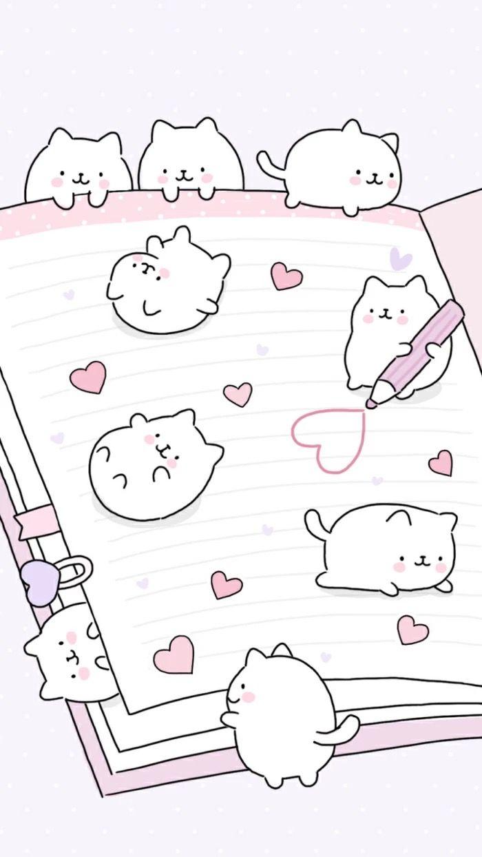 Gatitos Pintando En Una Libreta Cute Kawaii Animals Cute Doodles Cute Kawaii Drawings