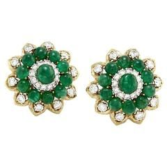David Webb Emerald Diamond Gold Platinum Cluster Earrings