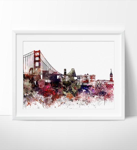 San Francisco Skyline, Watercolor San Francisco, Art Print, Cityscape,  Artwork, San