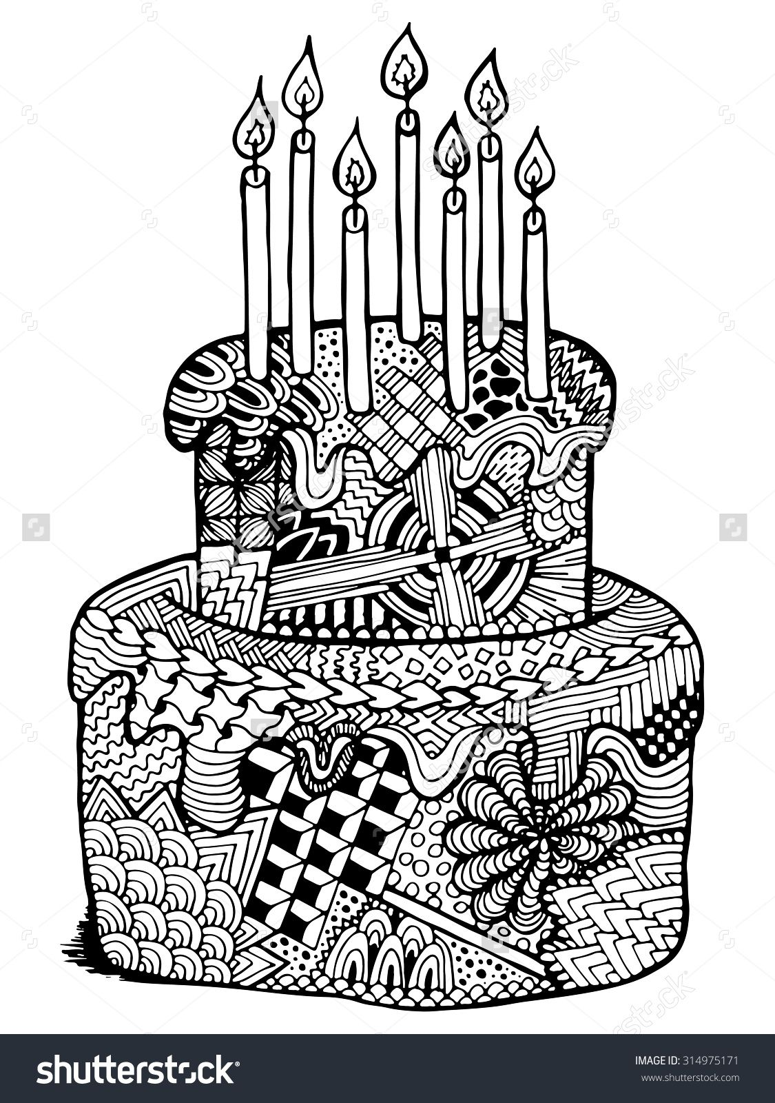 birthday cake zentangle illustration hand drawn zenart cake with
