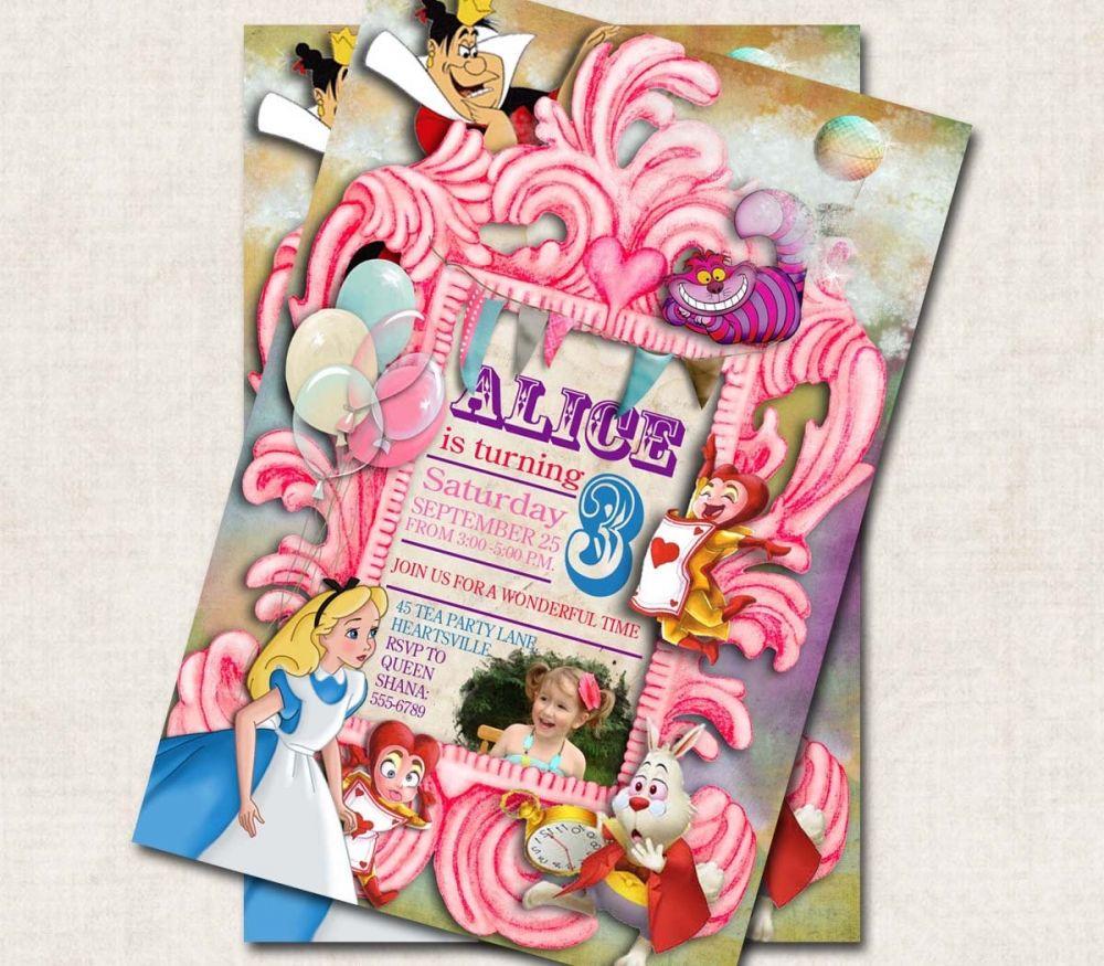 Alice in Wonderland Invitations Templates | Disney Party Ideas ...