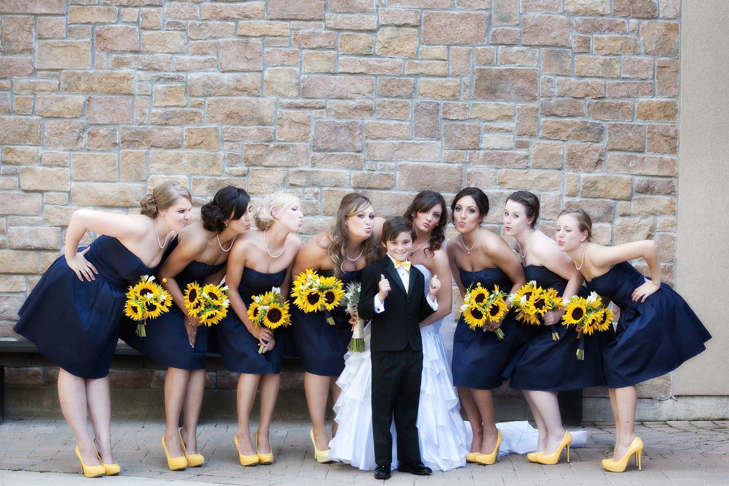 Bridesmaids - Navy And Sunflowers Lawrence