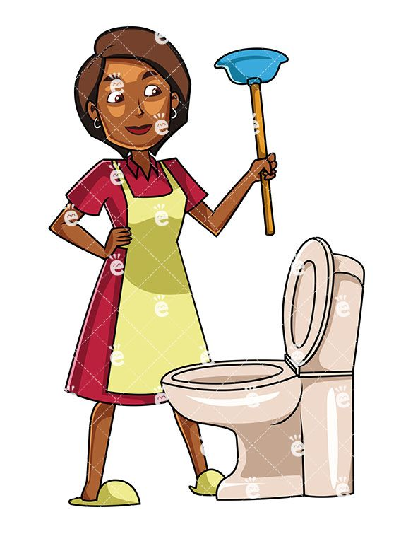 A Black Woman About To Use A Plunger Cartoon Diy Projects Apartment Black Women
