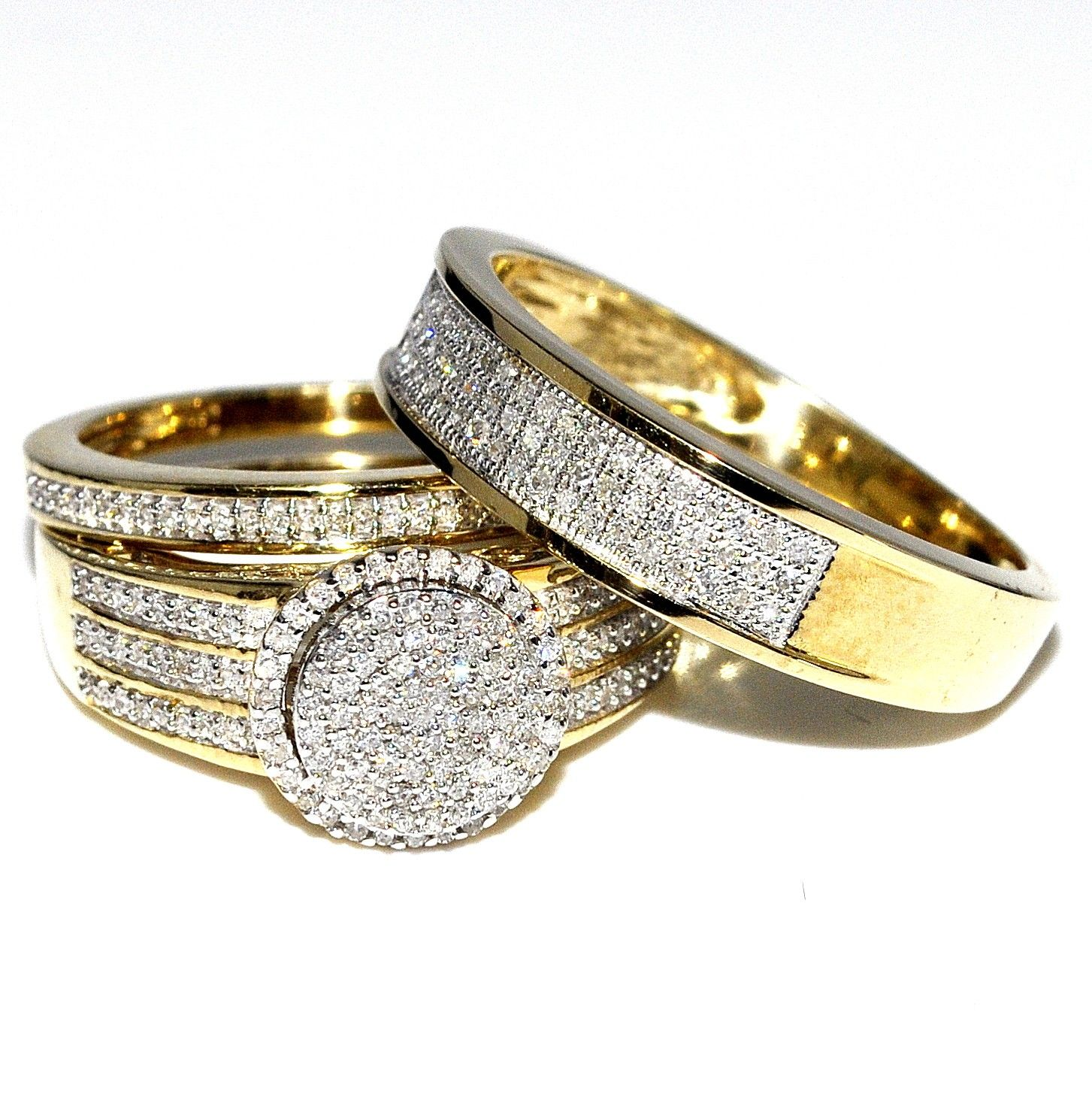 His and Her Bridal Rings Set Trio 073ct 10K Yellow Gold Halo