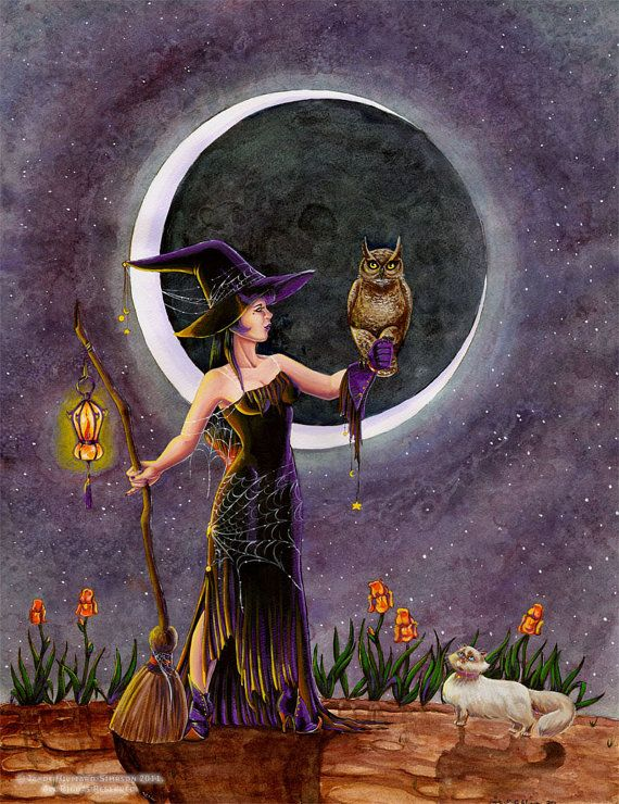 fantasy halloween witch art print hester and the owl by redrevvy 1299
