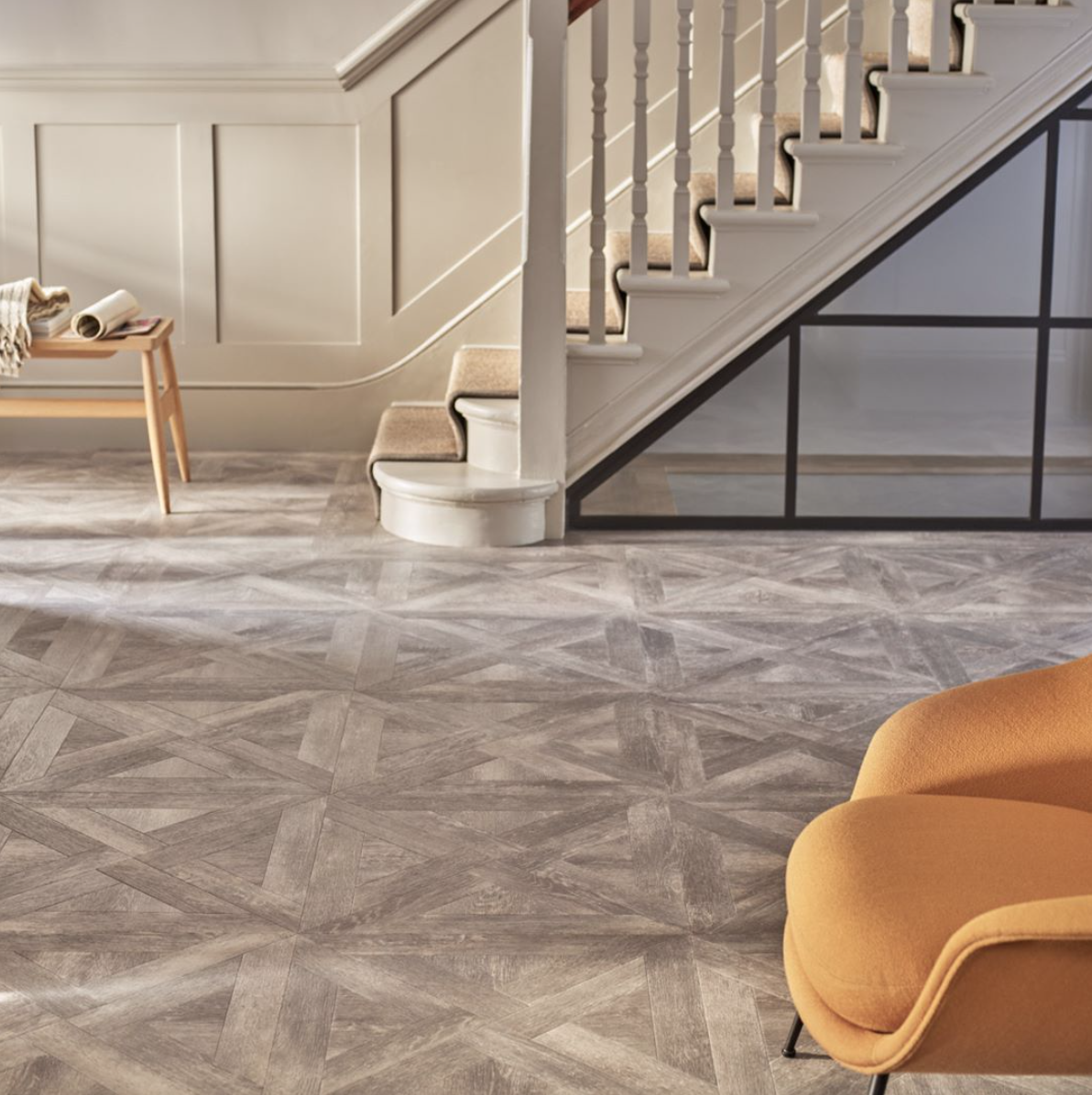 Make An Entrance With Our Verbier Oak In A French Weave Laying Pattern This Flooring Softens A Modern Interior With Its Amtico Flooring Modern Interior Amtico