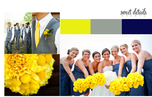 Yellow, Grey, Navy wedding ideas - Sweet Details Events Blog | My ...