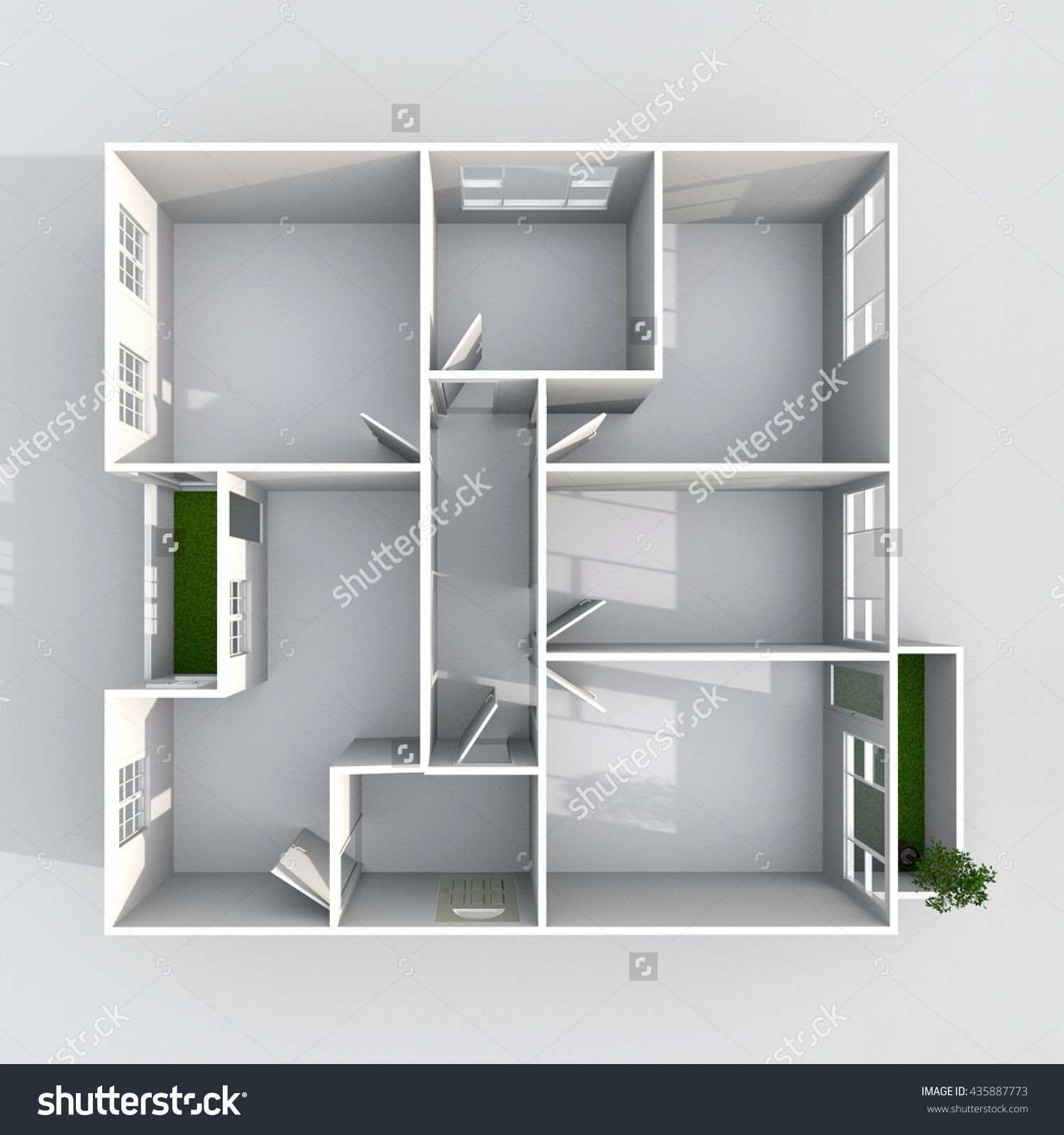 3d Interior Rendering Plan View Of Square Empty Home Apartment With Balconies Room Bathroom Kitchen Living RoomsEntrance