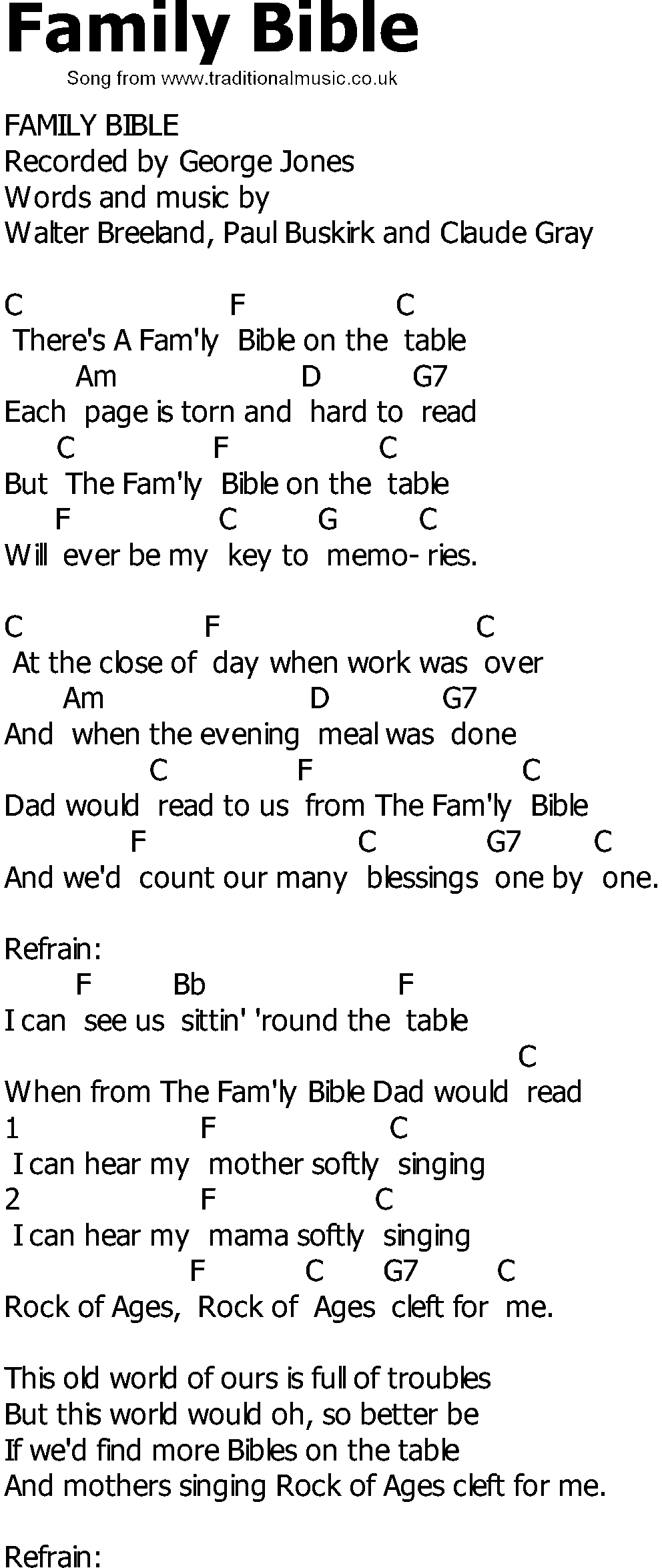 Old Country Song Lyrics With Chords Family Bible In 2020 Old Country Songs Country Songs Bible Lyrics