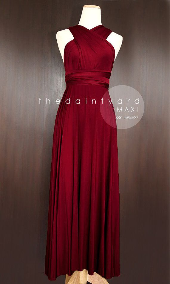 Tdy Wine Red Maxi Bridesmaid Dress Prom Wedding Dress