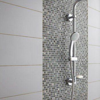 Mosaïque mur Fusion flex gris Leroy Merlin salle de bain